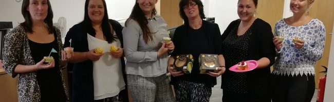 Jane Lewis staff with Cupcakes